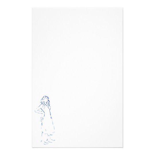 Blue Silhouette Girl Writing Paper