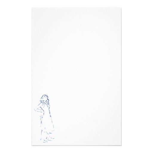 Blue Silhouette Girl Writing Paper Stationery