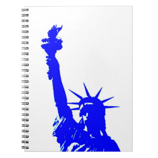 Blue Silhouette Lady Liberty Pop Art Notebook