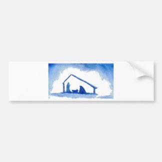 Blue Silhouette Nativity Scene Car Bumper Sticker