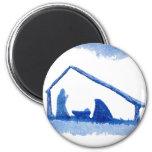 Blue Silhouette Nativity Scene Magnet