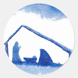 Blue Silhouette Nativity Scene Classic Round Sticker