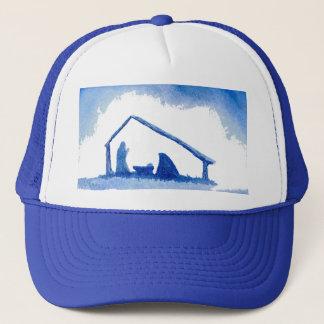 Blue Silhouette Nativity Scene Trucker Hat