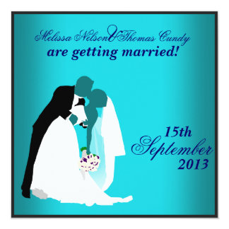 Blue Silhouette Wedding Invitation