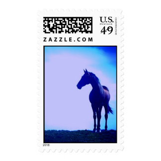 Blue Silhouetted Horse Postage Stamp