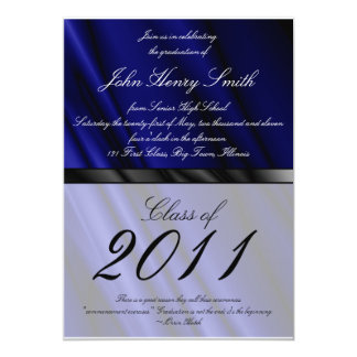 Blue Silk 2 Graduation Invitation/Announcement Card