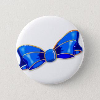Blue Silk Bow Pinback Button