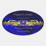 Blue Silk Gold Scroll Oval Wedding Wine Sticker