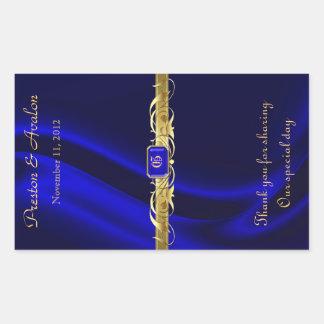 Blue Silk Gold Scroll Wedding Wine Sticker