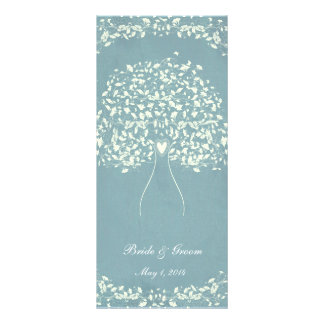 Blue Silk Heart Tree Wedding Extra Rack Card