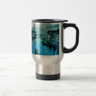 Blue Silk In Italian Travel Mug