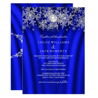 Blue Silk Pearl Snowflake Silver Winter Wedding Invitation