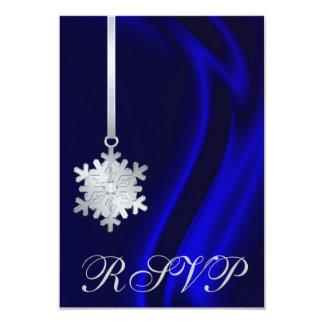 Blue Silk Silver Snowflake Jewel RSVP Invitation