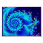 Blue Silk Spiral Poster