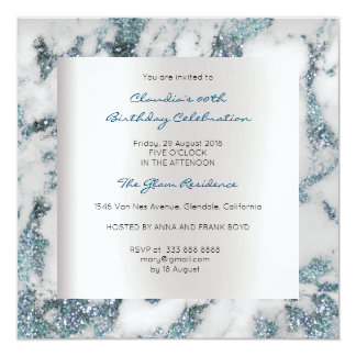Blue Silver Abstract Marble Gray Birthday Party Card