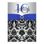 Blue, Silver, and Black Damask Sweet 16 Invitation