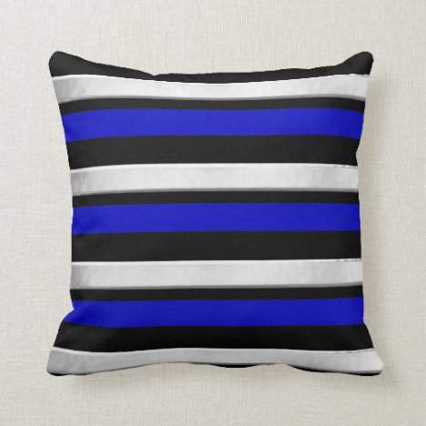 Blue Silver and Black Striped Throw Pillow