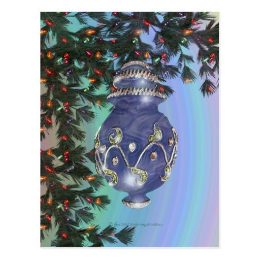Blue Silver and Green Glass Bulb Post Cards
