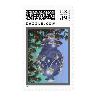 Blue Silver and Green Glass Bulb Postage