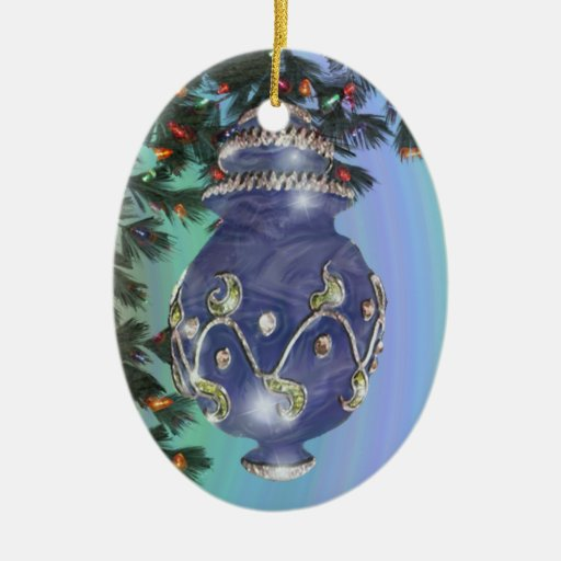 Blue Silver and Green Glass Double-Sided Oval Ceramic Christmas Ornament