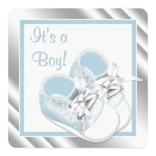 Blue Silver Baby Boy Shower Card