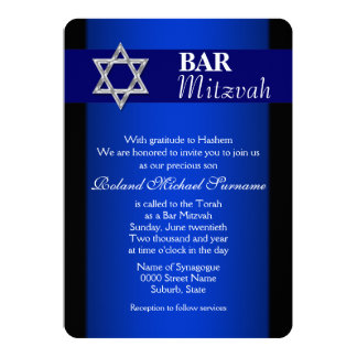 Blue silver bar mitzvah blue background card
