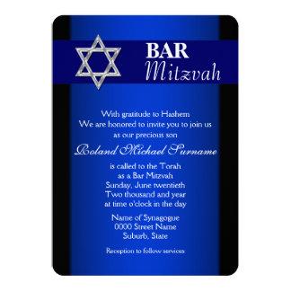 "Blue silver bar mitzvah celebrations #4 5"" x 7"" invitation card"