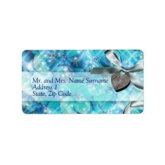 Blue silver beach heart party custom address label