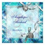 Blue silver beach heart party invitations