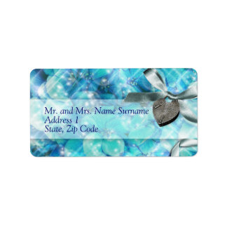 Blue silver beach heart party address label