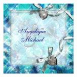 Blue silver beach heart party personalized invite