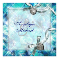 Blue silver beach heart party personalized invite