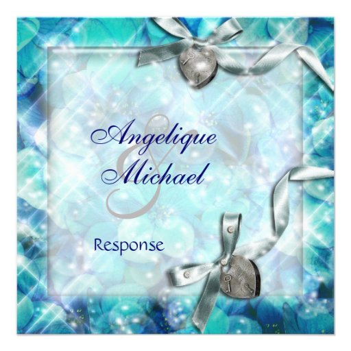 Blue silver beach heart party RESPONSE Personalized Invites
