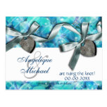 Blue silver beach heart wedding post card