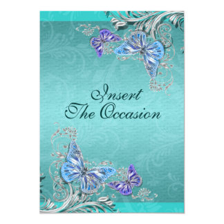 Blue silver birthday engagement wedding card