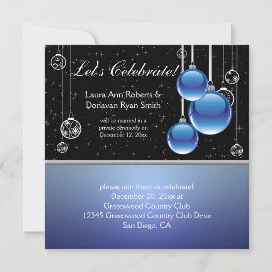 Blue Silver Black Christmas Post Wedding Invitation