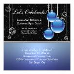 "Blue Silver Black Christmas Post Wedding 5.25"" Square Invitation Card"