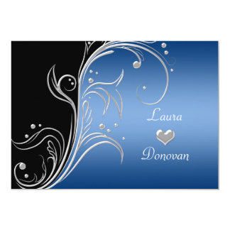 Blue Silver Black Floral Swirls Reception Only 5x7 Paper Invitation Card