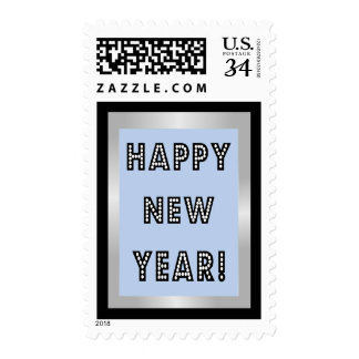 Blue Silver & Black Happy New Year Stamps