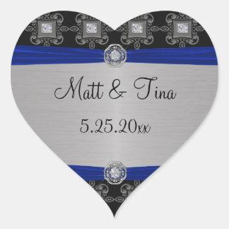 Blue Silver Black Ornate Elegance Heart Heart Sticker