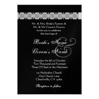 BLUE SILVER BLACK  Rose Wedding Invitation
