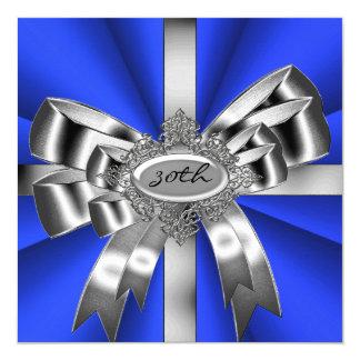 Blue Silver Bow 30th Black White Jewel 2 5.25x5.25 Square Paper Invitation Card