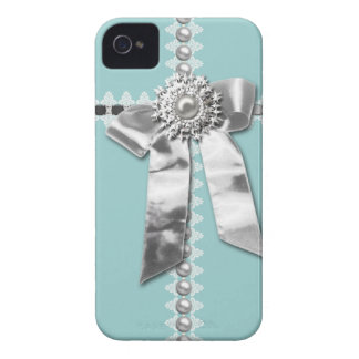 Blue Silver Bow Pearl Jewel Printed iPhone 4 Case