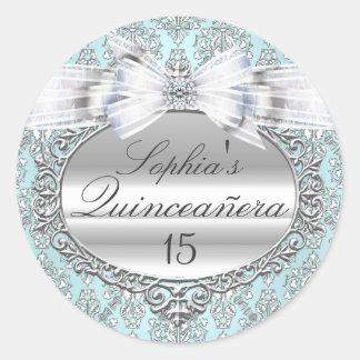 Blue & Silver Bow Quinceanera Sticker