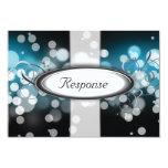 "Blue & Silver Bright Lights Wedding Response RSVP 3.5"" X 5"" Invitation Card"