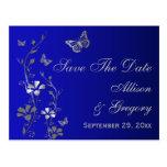 Blue, Silver Butterflies Save the Date Postcard
