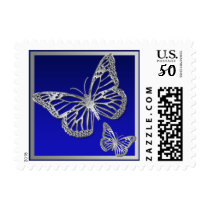 Blue, Silver Butterflies Wedding Postage