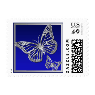 Blue, Silver Butterflies Wedding Postage