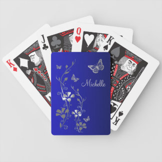 Blue Silver Butterfly Floral Playing Cards