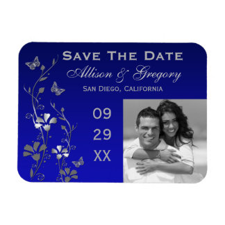 Blue, Silver Butterfly Floral Save Date Magnet